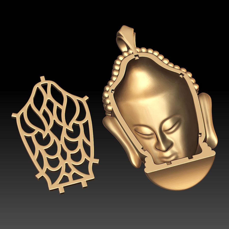 Buddha pendant royalty-free 3d model - Preview no. 5
