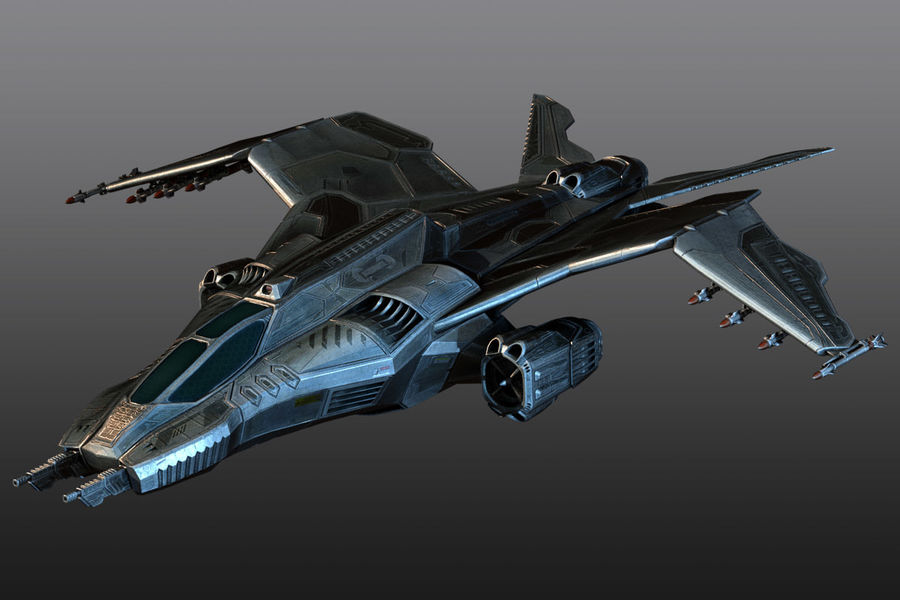 Bomber fighter royalty-free 3d model - Preview no. 3