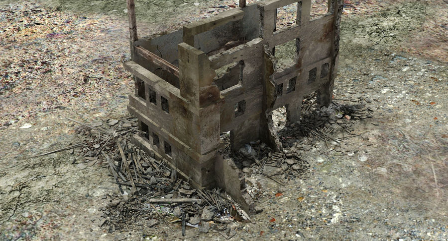 Ruined Destroyed Building royalty-free 3d model - Preview no. 7