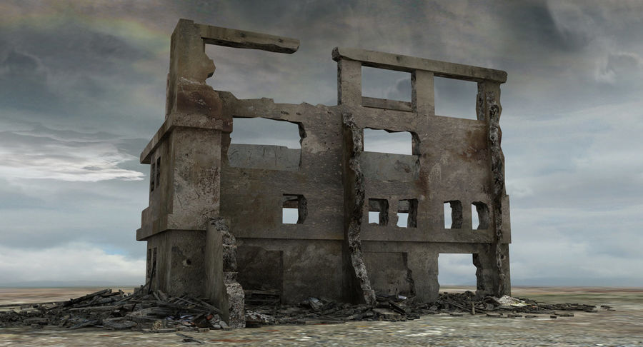 Ruined Destroyed Building royalty-free 3d model - Preview no. 3