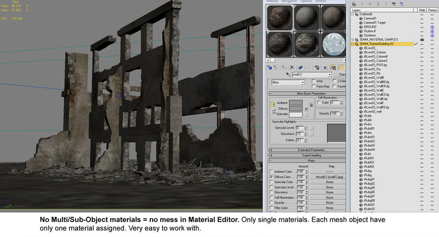 Ruined Destroyed Building royalty-free 3d model - Preview no. 13