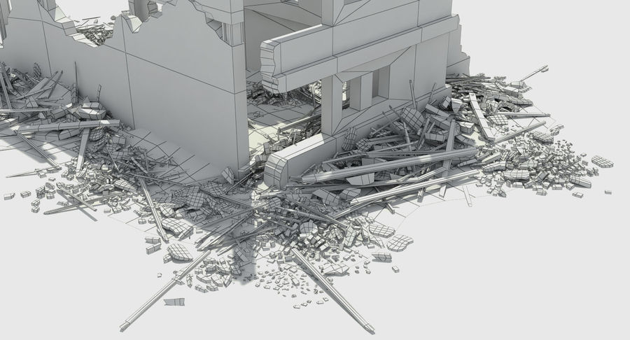 Ruined Destroyed Building royalty-free 3d model - Preview no. 12