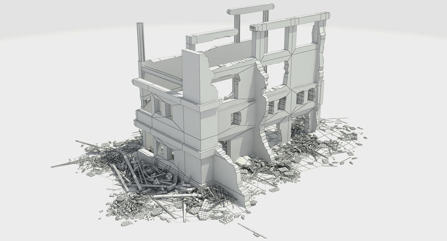 Ruined Destroyed Building royalty-free 3d model - Preview no. 11