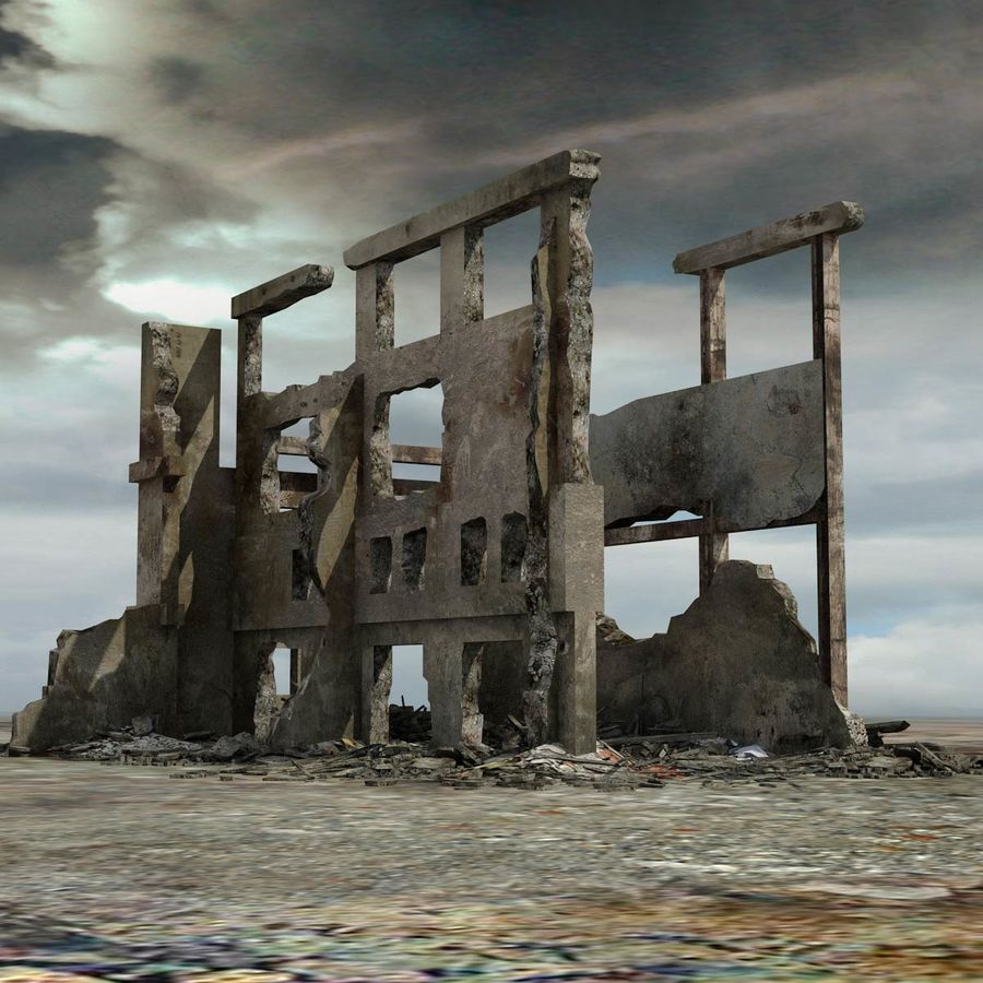 Ruined Destroyed Building royalty-free 3d model - Preview no. 1