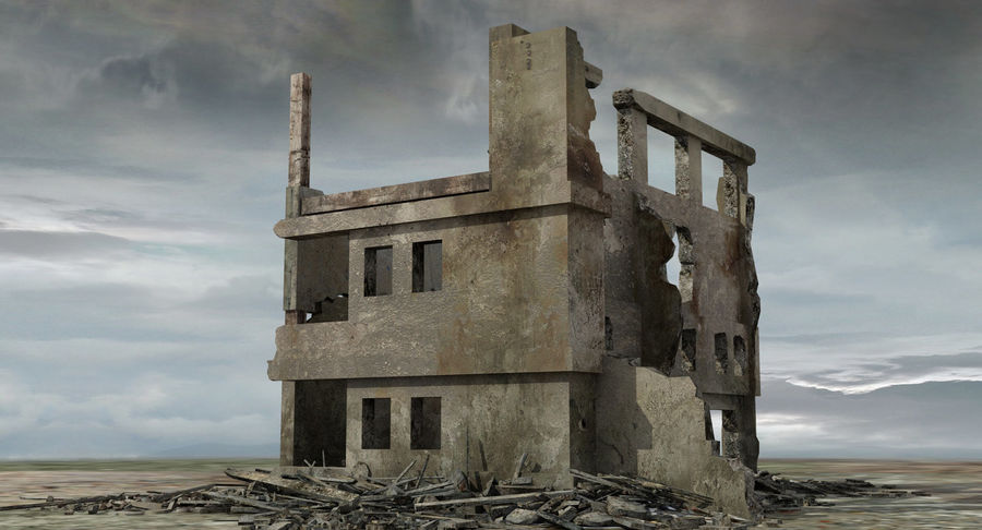 Ruined Destroyed Building royalty-free 3d model - Preview no. 5