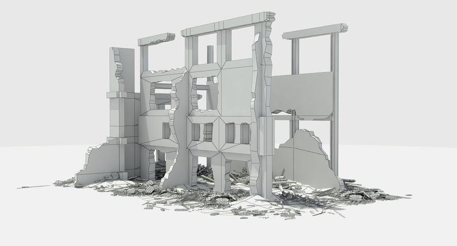 Ruined Destroyed Building royalty-free 3d model - Preview no. 10