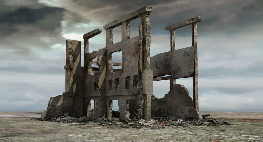 Ruined Destroyed Building royalty-free 3d model - Preview no. 2