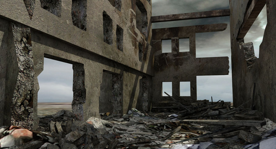 Ruined Destroyed Building royalty-free 3d model - Preview no. 4