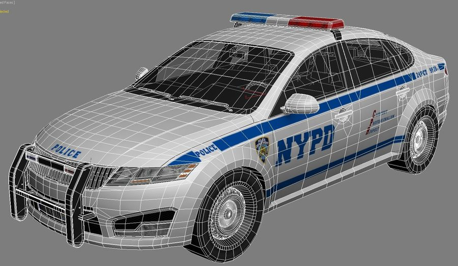 NYPD polisbil 01 royalty-free 3d model - Preview no. 9
