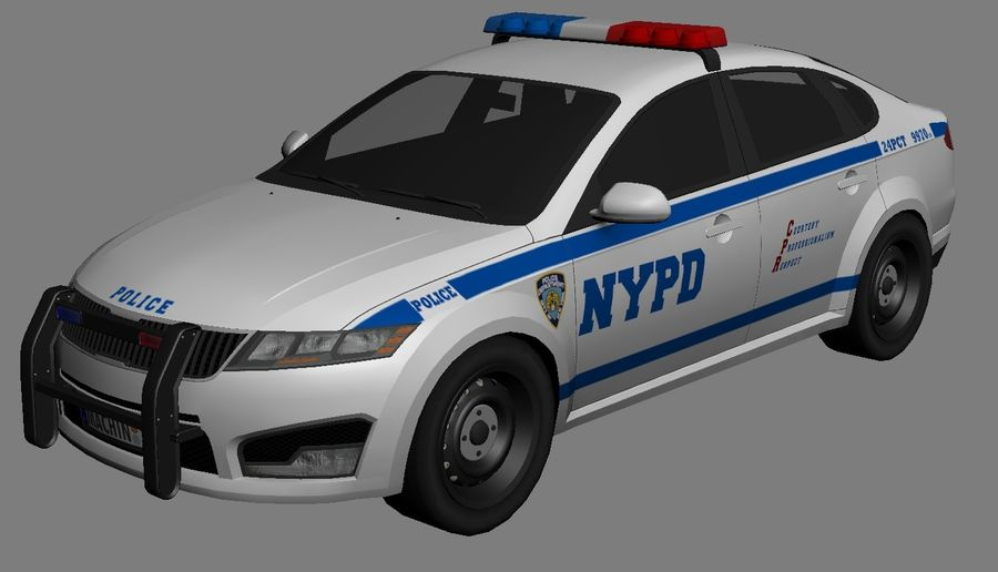 NYPD polisbil 01 royalty-free 3d model - Preview no. 7