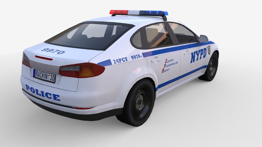 NYPD polisbil 01 royalty-free 3d model - Preview no. 3