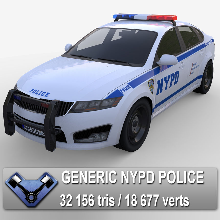 NYPD polisbil 01 royalty-free 3d model - Preview no. 1