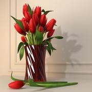 Czerwony Tulipan Kwiat 3d model