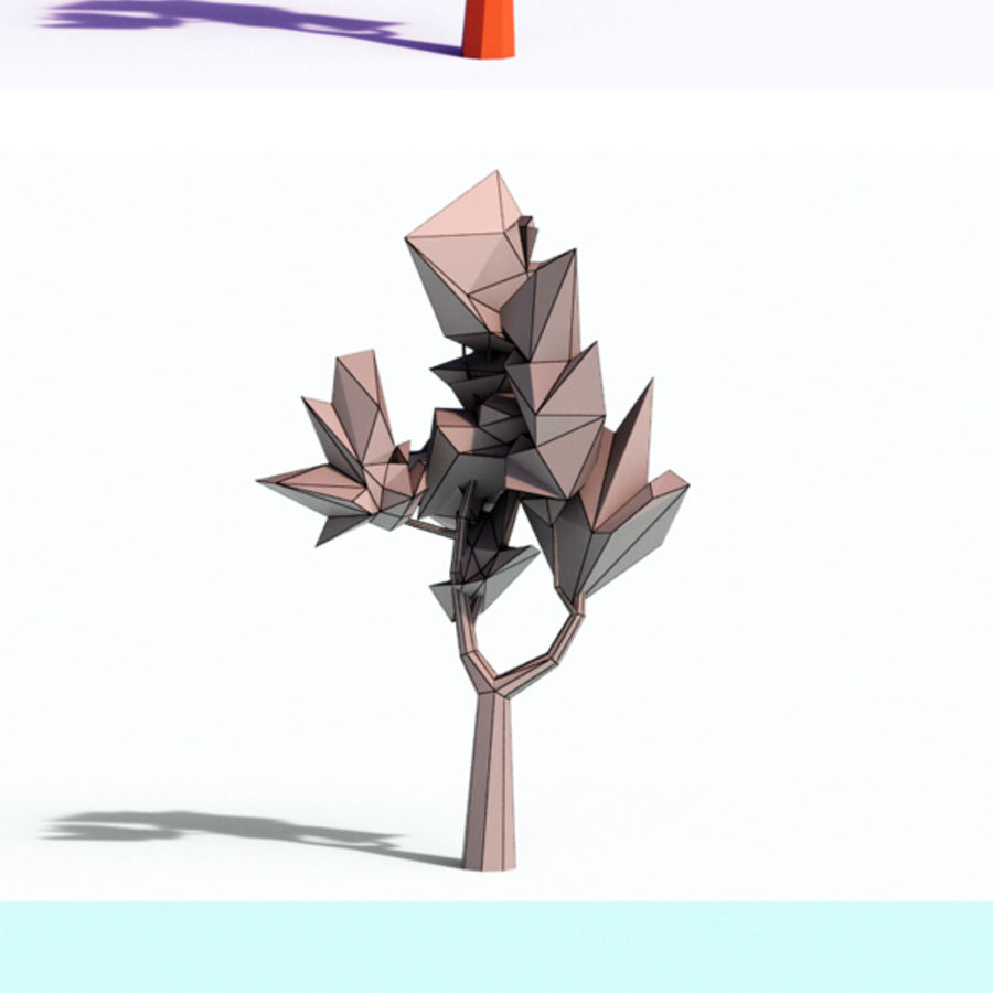 Beautiful Low Poly Tree royalty-free 3d model - Preview no. 5