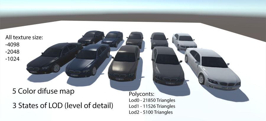 Sedan Car E65 Game Ready royalty-free modelo 3d - Preview no. 1