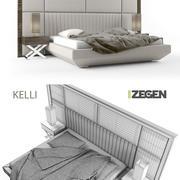 Bett + Nachttisch + Lampe. Kelli. 3d model