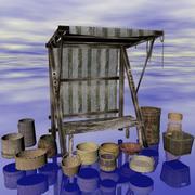 Fantasy medievale: bancarella del mercato del basket 3d model