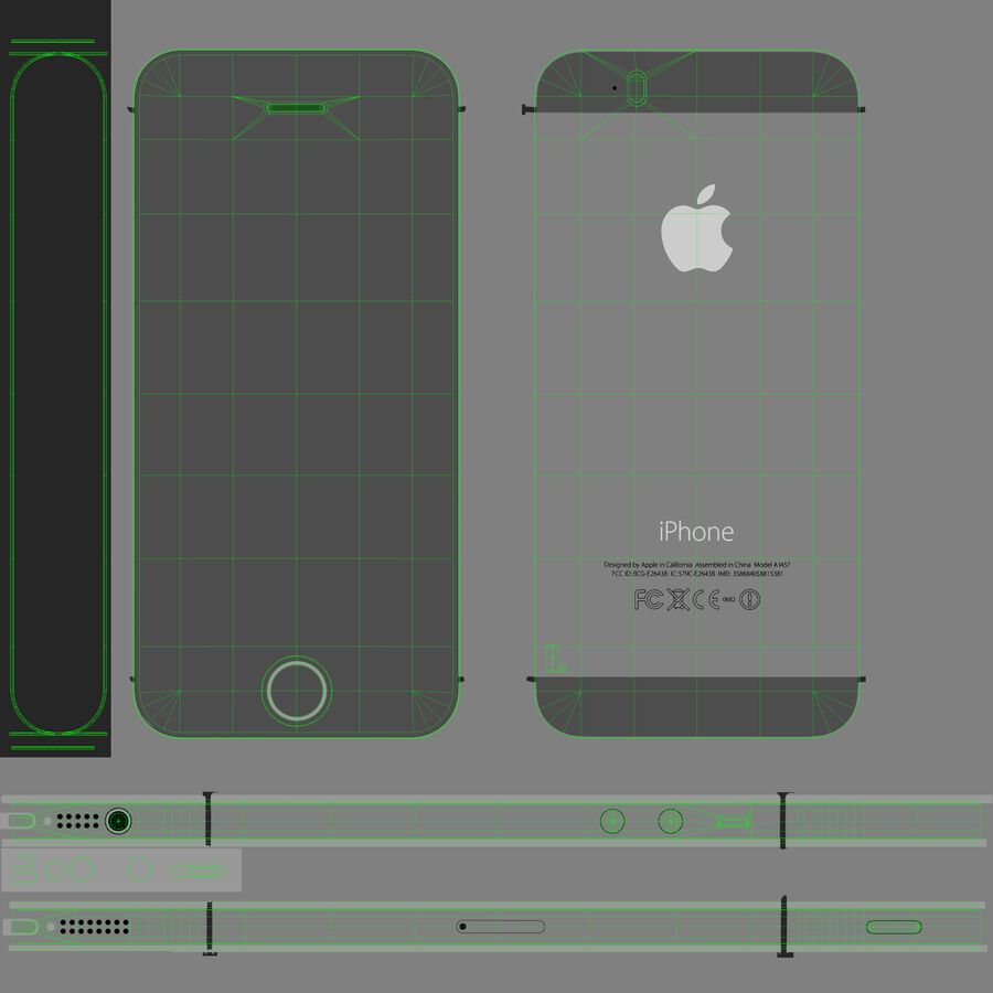 Apple iPhone 5S royalty-free 3d model - Preview no. 12