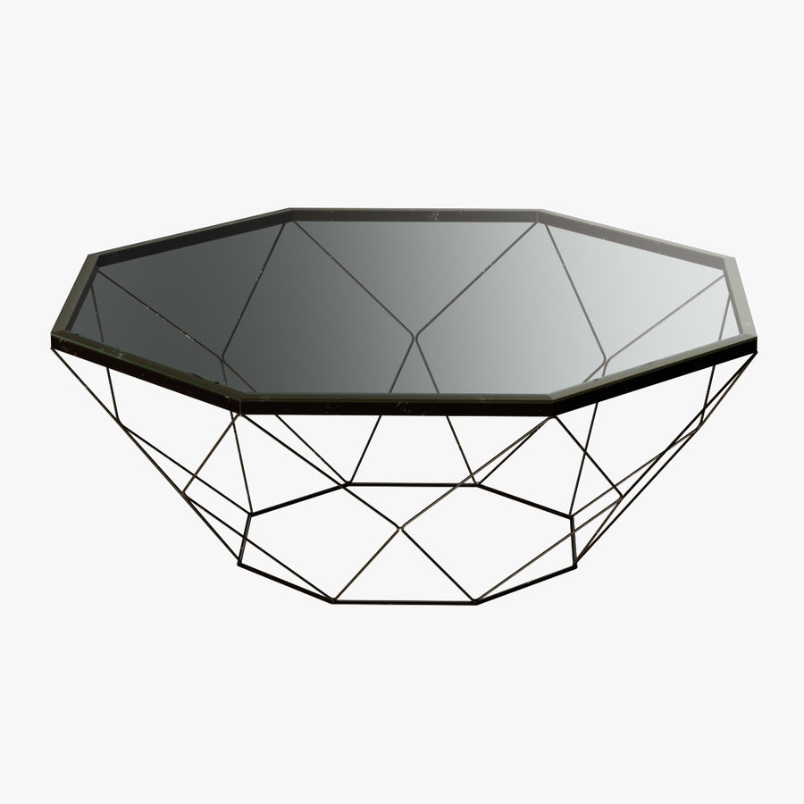 Geometric Antique Brass Coffee Table With Glass Top 3d Model 20 Max Obj Fbx 3ds Free3d