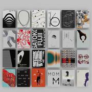 깔끔한 그래픽 디자인의 세련된 최소한의 책 3d model