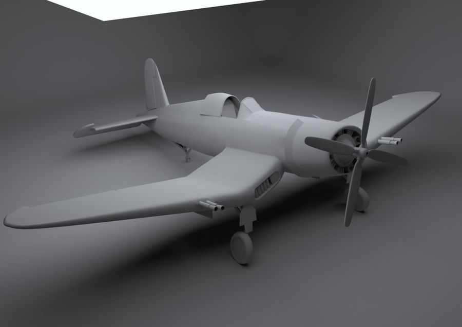 Corsair vought f4u royalty-free 3d model - Preview no. 4