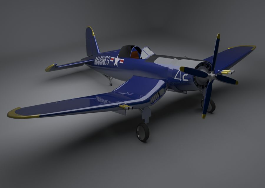 Corsair vought f4u royalty-free 3d model - Preview no. 1