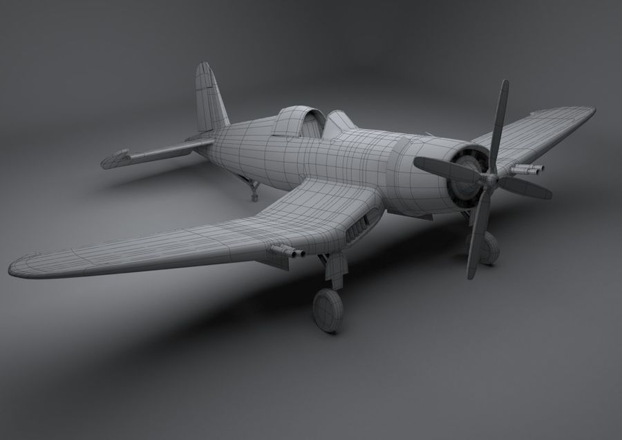 Corsair vought f4u royalty-free 3d model - Preview no. 2