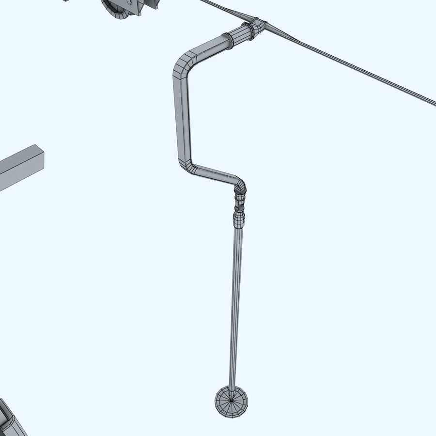 Ski lift pole rod royalty-free 3d model - Preview no. 11
