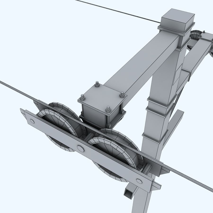 Ski lift pole rod royalty-free 3d model - Preview no. 9