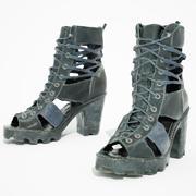 Tacones Sandalia Negra modelo 3d