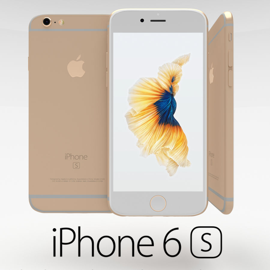 Iphone 6S Gold royalty-free modelo 3d - Preview no. 1