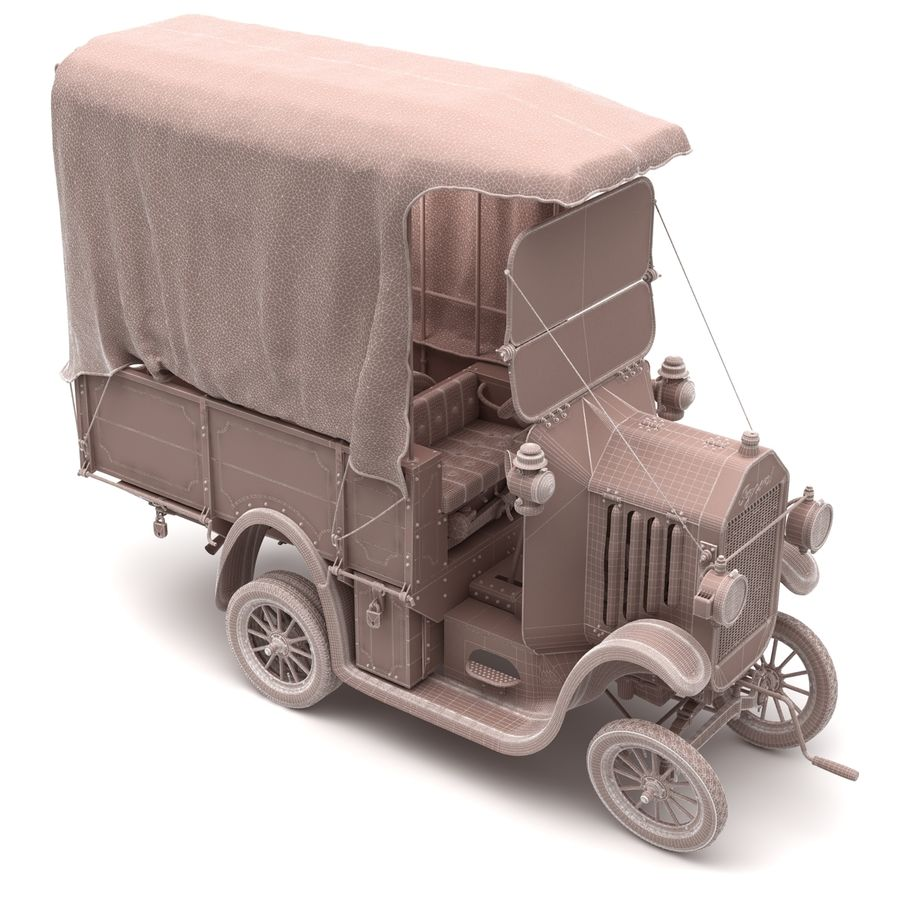 cartoon car cargo royalty-free 3d model - Preview no. 49