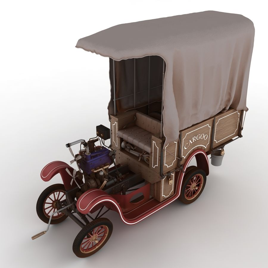 cartoon car cargo royalty-free 3d model - Preview no. 58