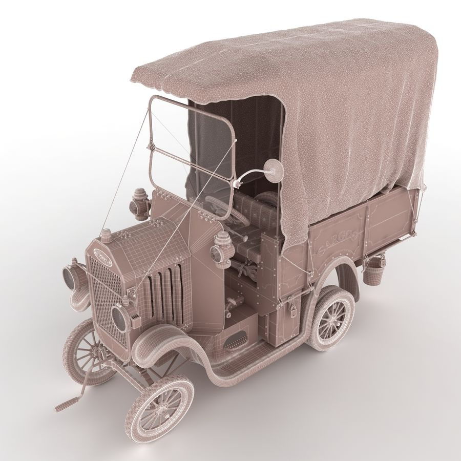 cartoon car cargo royalty-free 3d model - Preview no. 57
