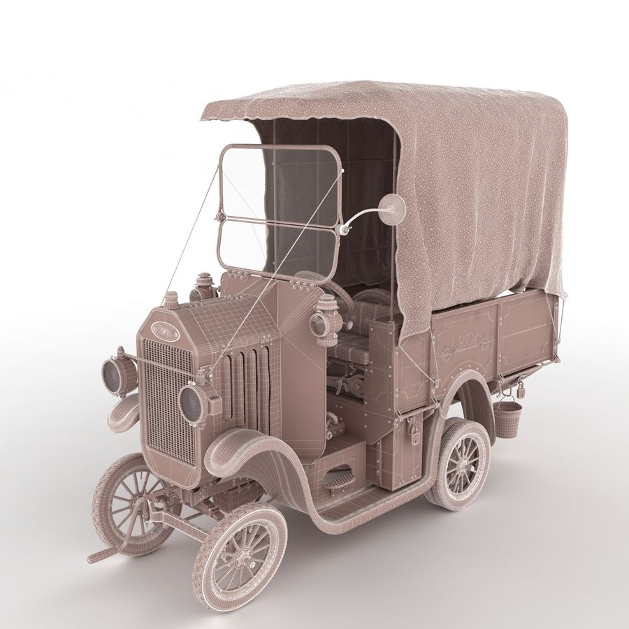 cartoon car cargo royalty-free 3d model - Preview no. 40