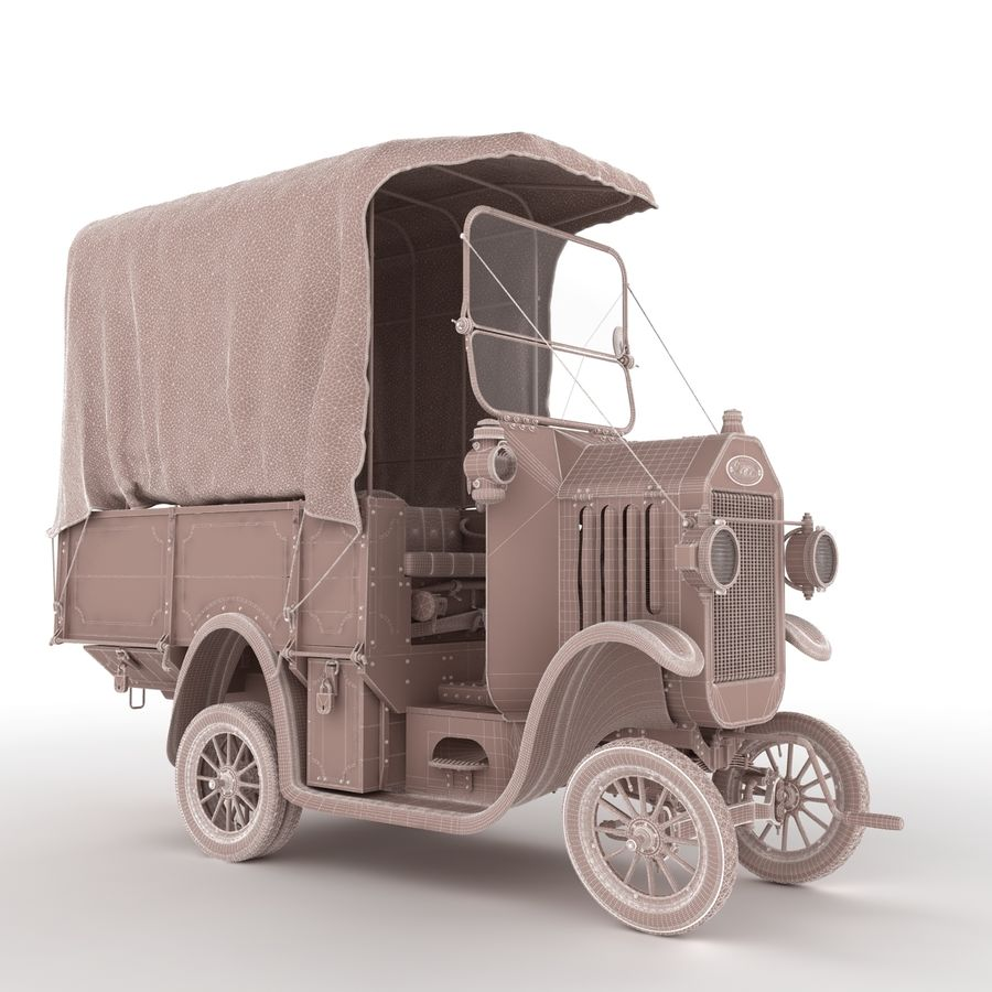 cartoon car cargo royalty-free 3d model - Preview no. 46