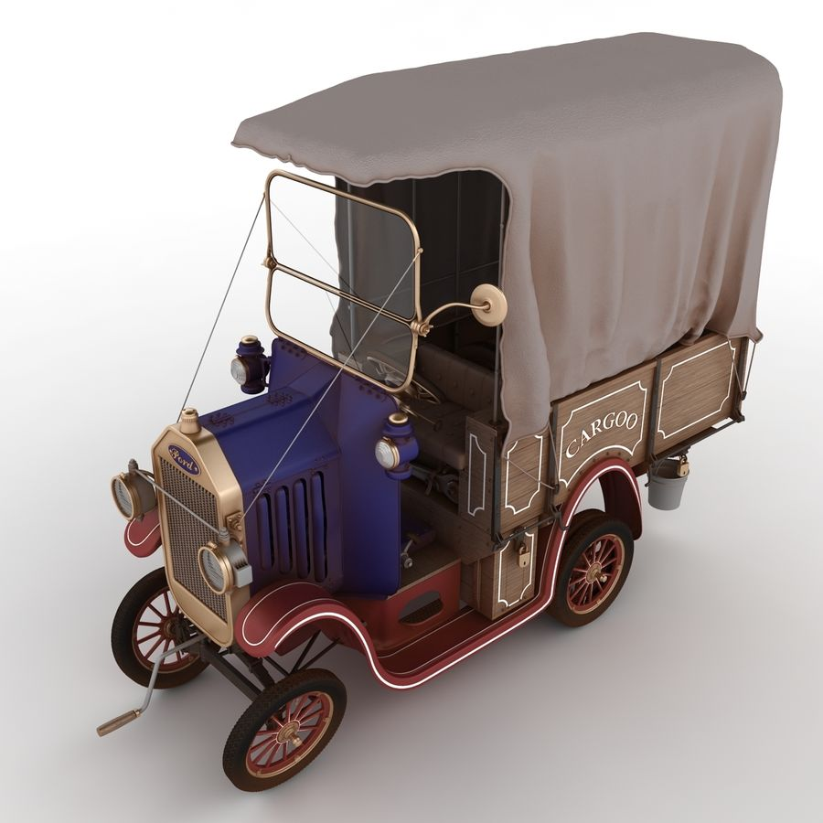 cartoon car cargo royalty-free 3d model - Preview no. 56