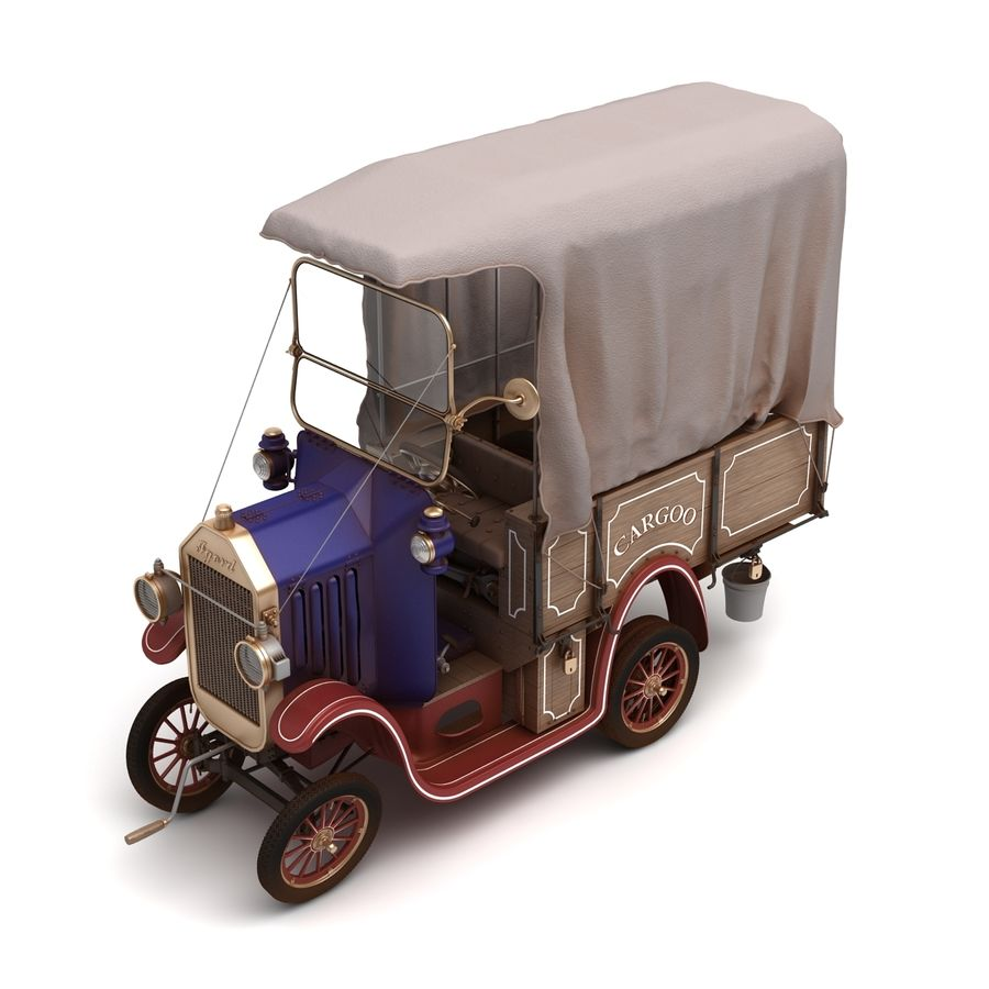 cartoon car cargo royalty-free 3d model - Preview no. 2