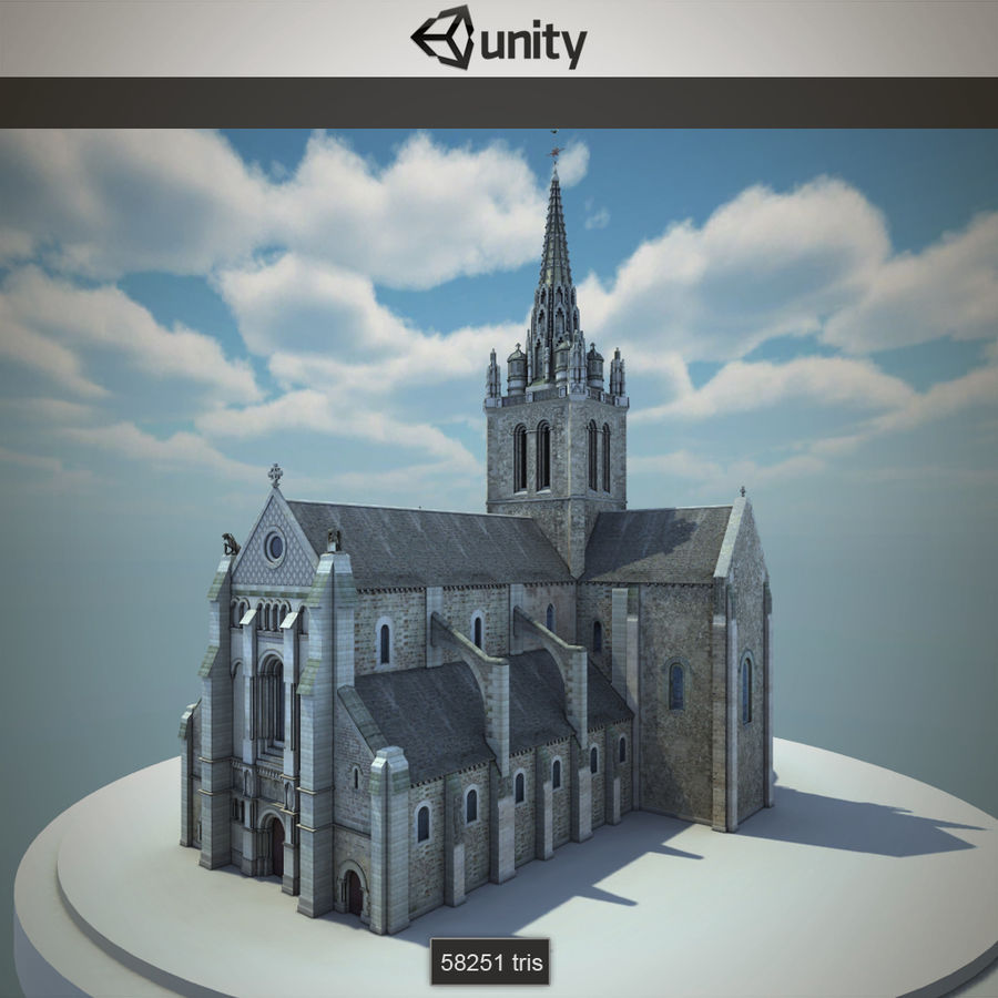Europese kathedraal met LOD royalty-free 3d model - Preview no. 3