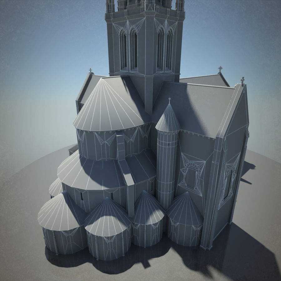 Europese kathedraal met LOD royalty-free 3d model - Preview no. 16