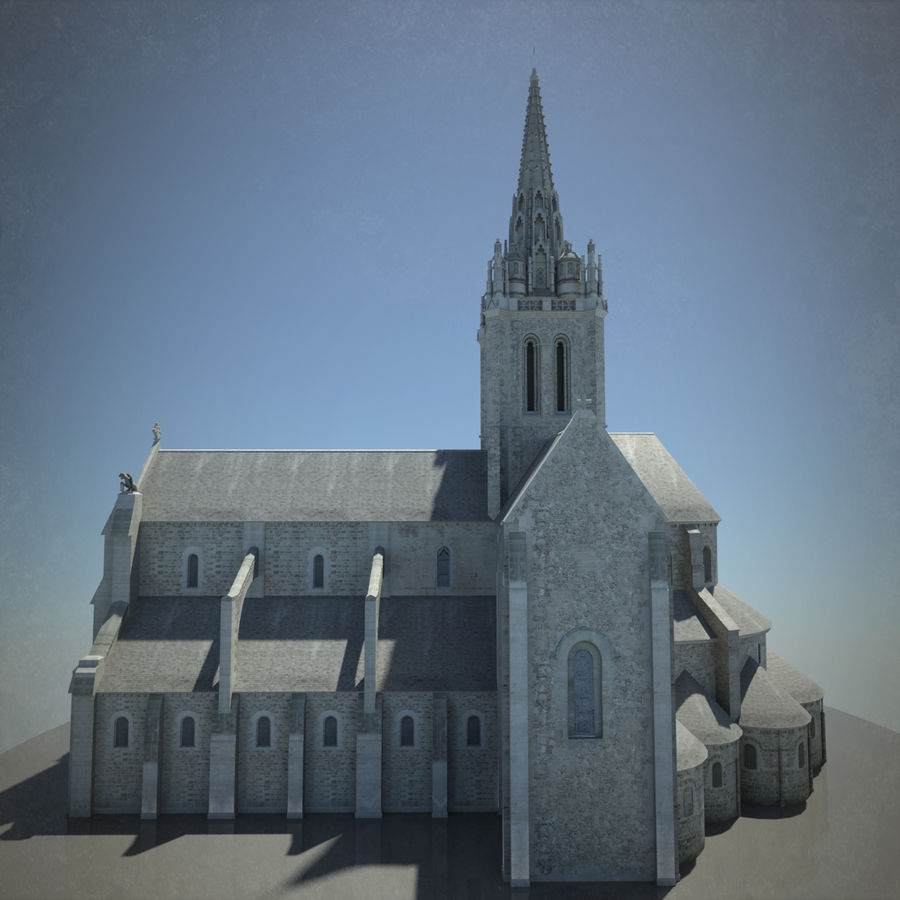 Europese kathedraal met LOD royalty-free 3d model - Preview no. 9