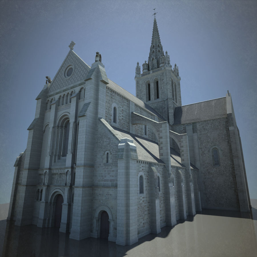 Europese kathedraal met LOD royalty-free 3d model - Preview no. 2