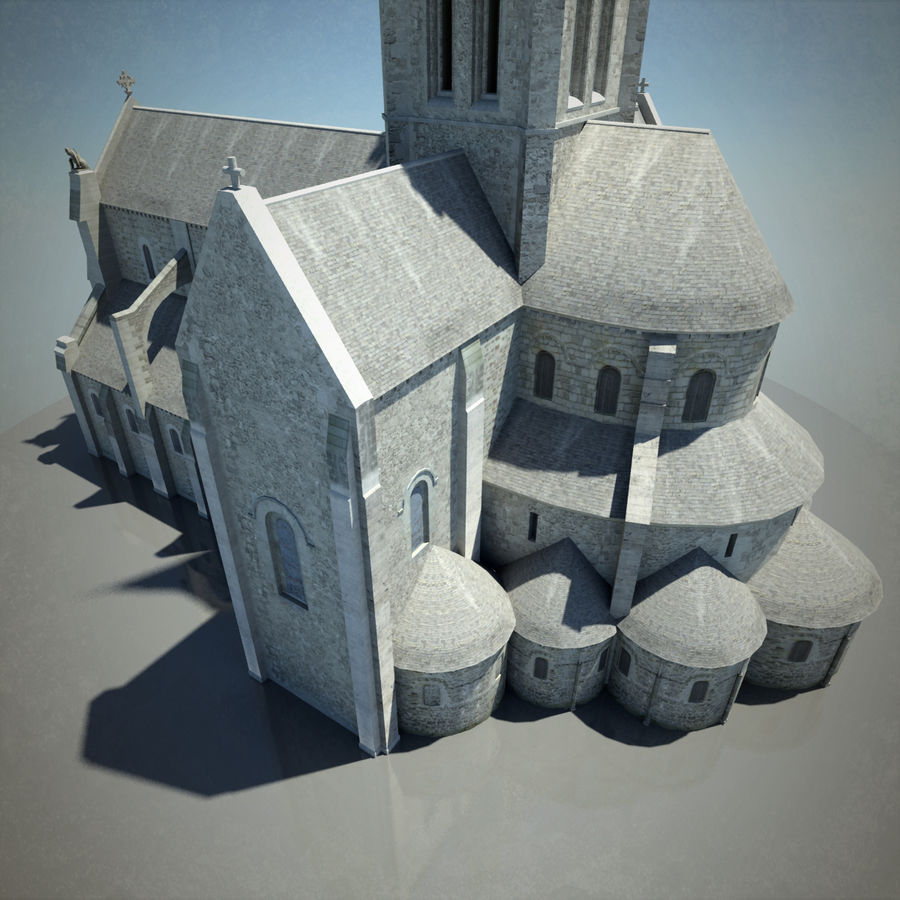 Europese kathedraal met LOD royalty-free 3d model - Preview no. 11