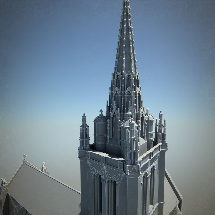 Europese kathedraal met LOD royalty-free 3d model - Preview no. 15
