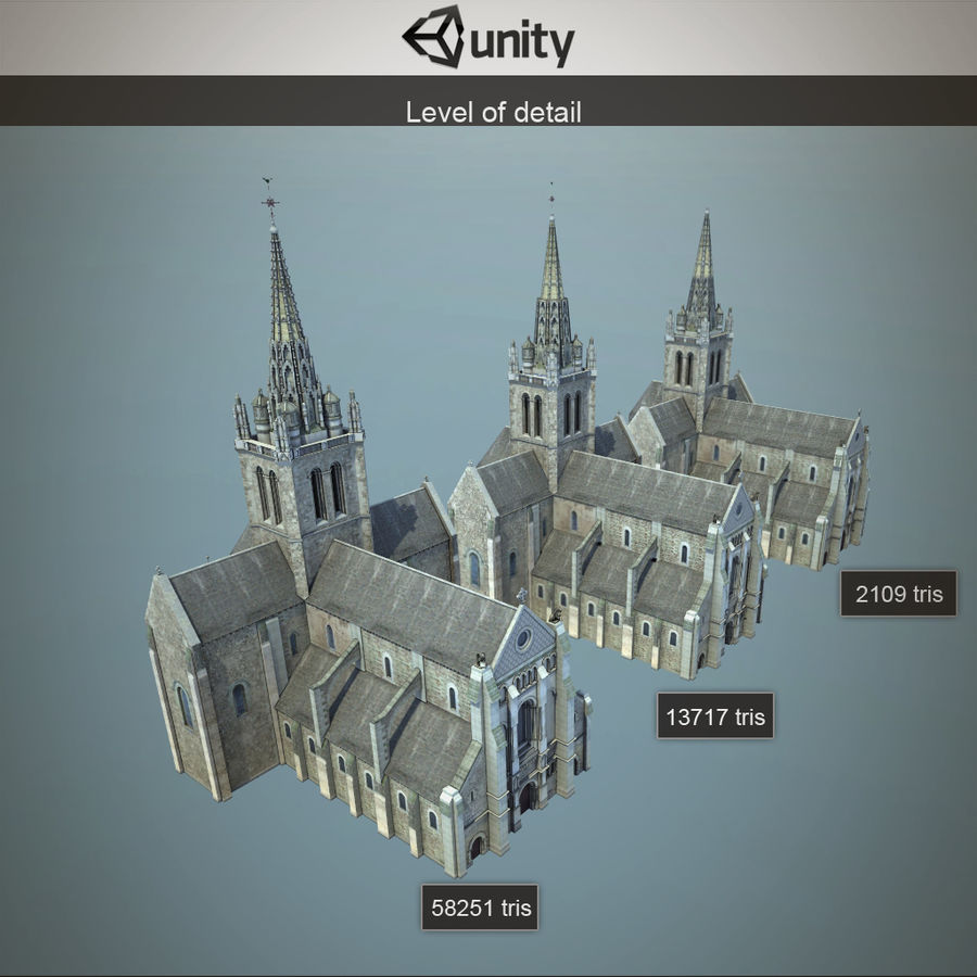 Europese kathedraal met LOD royalty-free 3d model - Preview no. 6