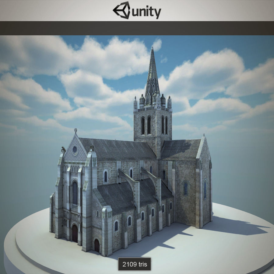 Europese kathedraal met LOD royalty-free 3d model - Preview no. 5