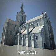 Europese kathedraal met LOD 3d model