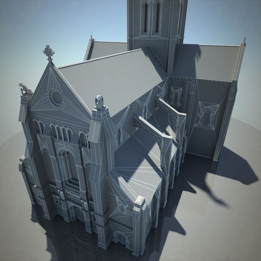 Europese kathedraal met LOD royalty-free 3d model - Preview no. 14