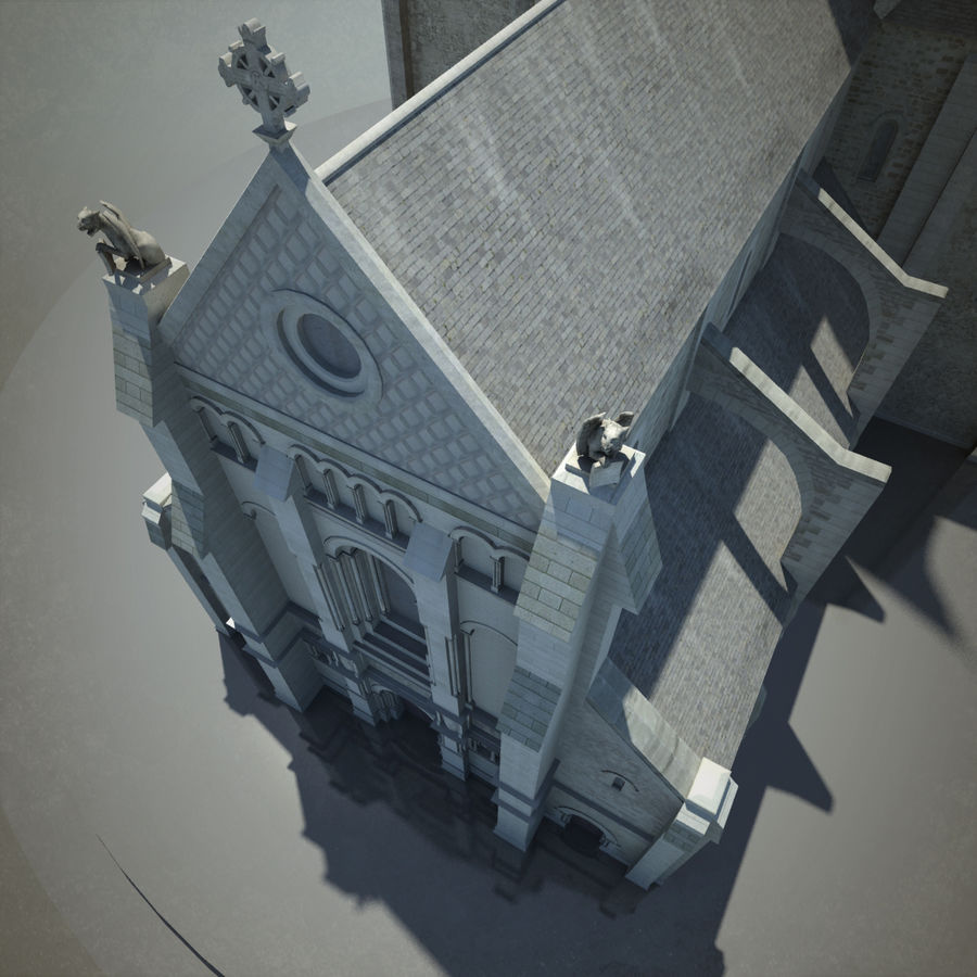 Europese kathedraal met LOD royalty-free 3d model - Preview no. 10