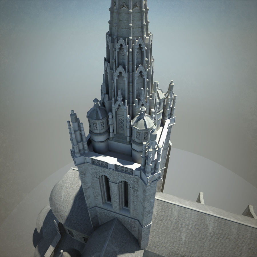 Europese kathedraal met LOD royalty-free 3d model - Preview no. 7